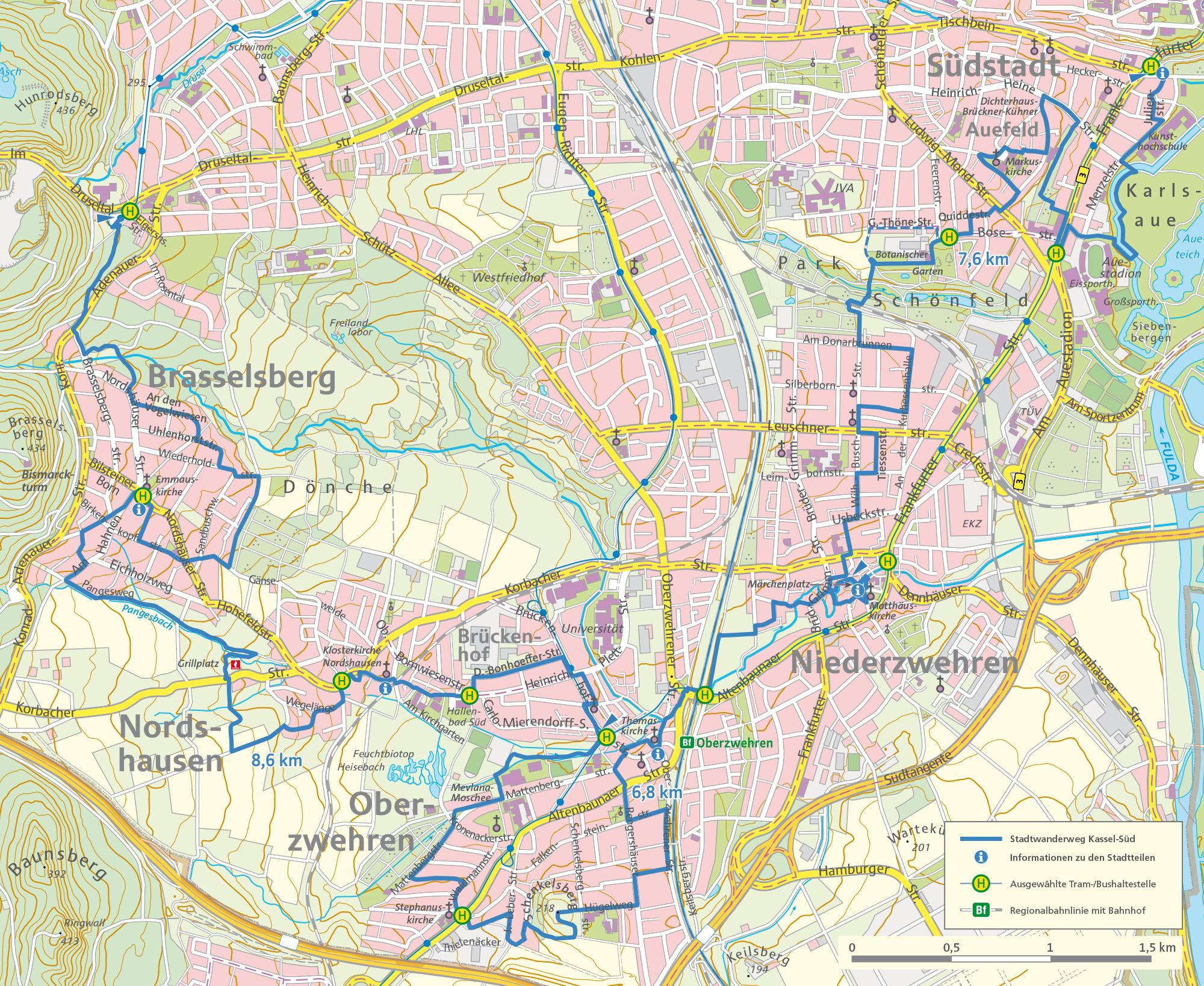 Plan Stadtwanderweg KS-Süd